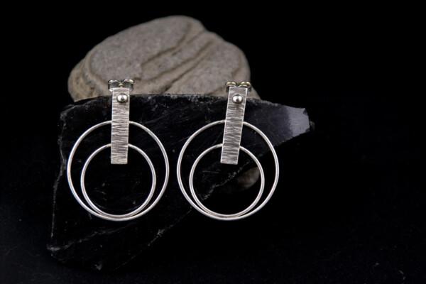 Silver earrings Power button