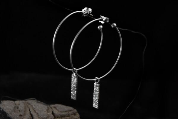 Silver Hammered on Hoops Earrings