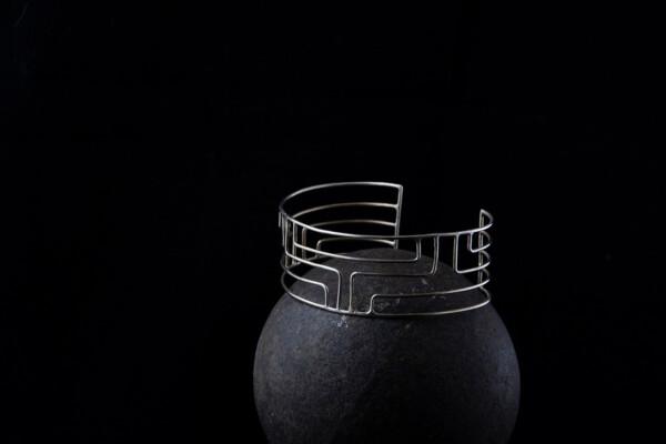 Silver Meander cuff bracelet